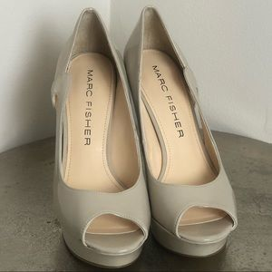 Marc Fisher Nude Peep-Tie Pump Size 7 1/2